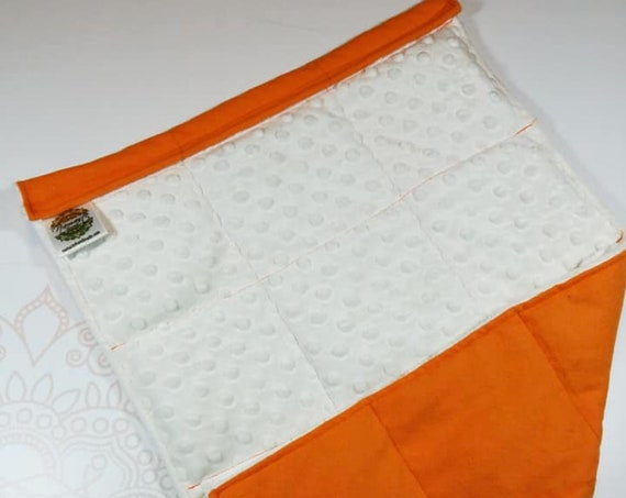 READY TO SHIP, Ivory Minky Front, Orange Cotton Flannel Back, Lap Pad/Weighted Blanket, 3 pounds, 14x22, Small Weighted Blanket