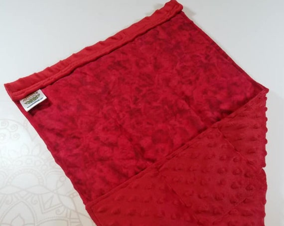 READY TO SHIP, Red Tie Dye Front, Red Minky Back, Lap Pad/Weighted Blanket, 3 pounds, 14x22, Small Weighted Blanket