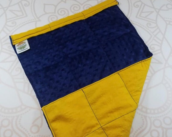 READY TO SHIP, Lap Pad, Navy Minky, Gold Woven Cotton Back, Lap Pad/Weighted Blanket, 3 pounds, 14x22, Small Weighted Blanket