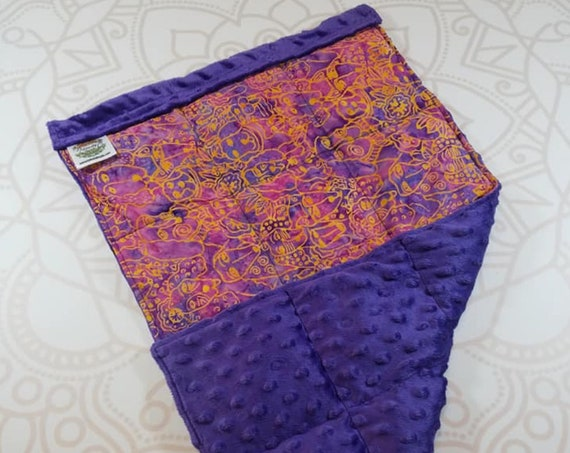 READY TO SHIP, Lap Pad, Puppy Batik, Purple Minky Back, Lap Pad/Weighted Blanket, 3 pounds, 14x22, Small Weighted Blanket