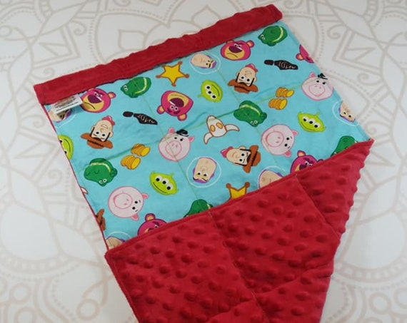 READY TO SHIP, Lap Pad, Character, Red Minky Back, Lap Pad/Weighted Blanket, 3 pounds, 14x22, Small Weighted Blanket