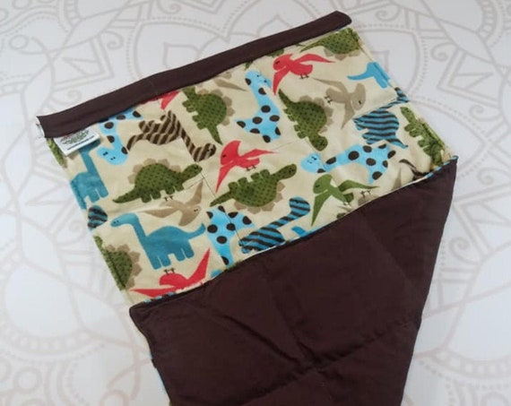 READY TO SHIP, Lap Pad, Tan Dinosaur Minky, Brown Woven Cotton Back, Lap Pad/Weighted Blanket, 3 pounds, 14x22, Small Weighted Blanket