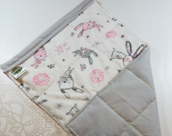 READY TO SHIP, Bunny Minky Front, Gray Flannel Flannel Back, Lap Pad/Weighted Blanket, 3 pounds, 14x22, Small Weighted Blanket