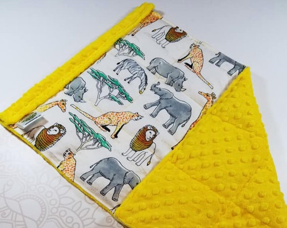 READY TO SHIP, Jungle Flannel Front, Yellow Minky Back, Lap Pad/Weighted Blanket, 3 pounds, 14x22, Small Weighted Blanket