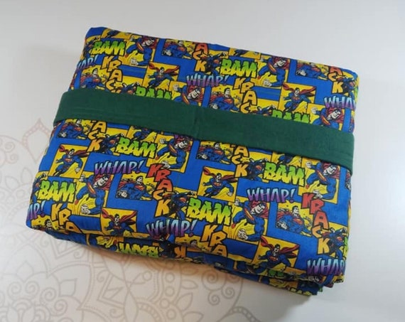 READY TO SHIP, 40x50, 6 pounds, Super Hero Woven Cotton Front, Hunter Back, Weighted Blanket, spd, Autism, Minky weighted blanket