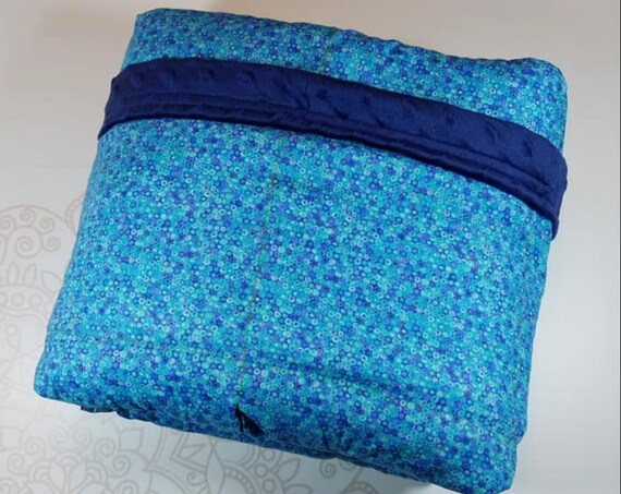 READY to SHIP, Weighted Blanket, 40x70, 20 Pounds, Blue Bubble Cotton, Navy Minky Back, Sensory Blanket, Calming Blanket,