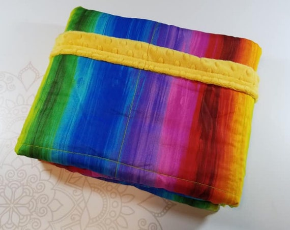 READY TO SHIP, 40x50, 6 pounds, Rainbow Woven Cotton Front, Mango Orange Minky Back, Weighted Blanket, spd, Autism, Minky weighted blanket