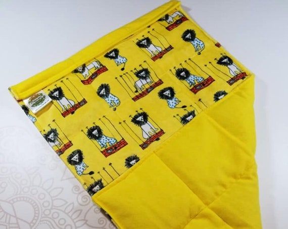 READY TO SHIP, Lion Minky Front, Yellow Flannel Back, Lap Pad/Weighted Blanket, 3 pounds, 14x22, Small Weighted Blanket