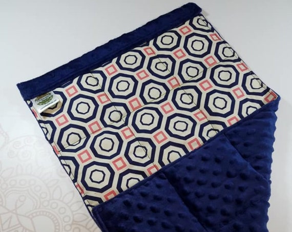 READY TO SHIP, Navy Geometric Front, Navy Minky Back, Lap Pad/Weighted Blanket, 3 pounds, 14x22, Small Weighted Blanket