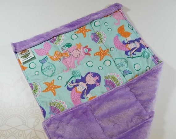 READY TO SHIP, Mermaid Front, Lilac Minky Back, Lap Pad/Weighted Blanket, 3 pounds, 14x22, Small Weighted Blanket