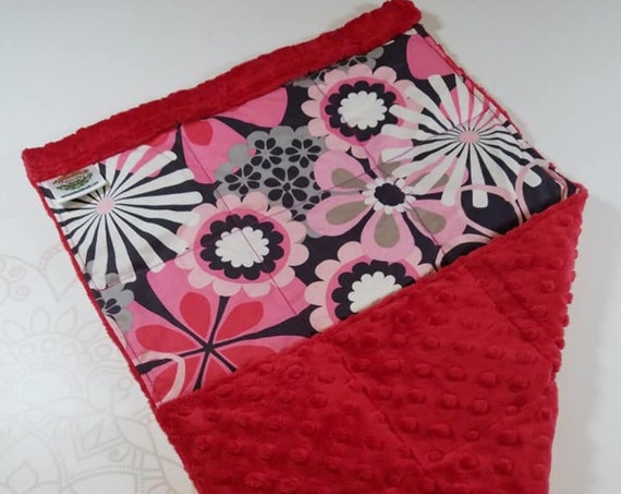 READY TO SHIP, Floral Front, Red Minky Back, Lap Pad/Weighted Blanket, 3 pounds, 14x22, Small Weighted Blanket