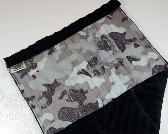 READY TO SHIP, Gray Camo Front, Black Minky Back, Lap Pad/Weighted Blanket, 3 pounds, 14x22, Small Weighted Blanket