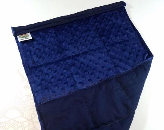 READY TO SHIP, Navy Minky Front, Navy Cotton Back, Lap Pad/Weighted Blanket, 3 pounds, 14x22, Small Weighted Blanket