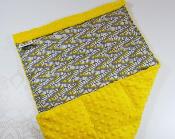 READY TO SHIP, Yellow Gray Geometric Front, Yellow Minky Back, Lap Pad/Weighted Blanket, 3 pounds, 14x22, Small Weighted Blanket