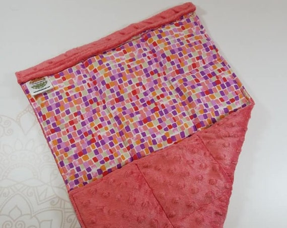 READY TO SHIP, Pink Purple Mosaic Front, Coral Minky Back, Lap Pad/Weighted Blanket, 3 pounds, 14x22, Small Weighted Blanket