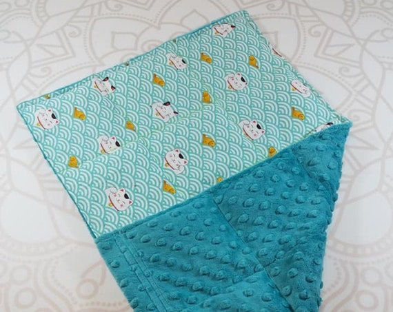 READY TO SHIP, Sushi Cat Front, Teal Minky Back, Lap Pad/Weighted Blanket, 3 pounds, 14x22, Small Weighted Blanket