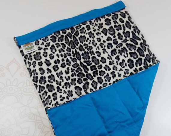 READY TO SHIP, Animal Print Minky Front, Turquoise Cotton Back, Lap Pad/Weighted Blanket, 3 pounds, 14x22, Small Weighted Blanket