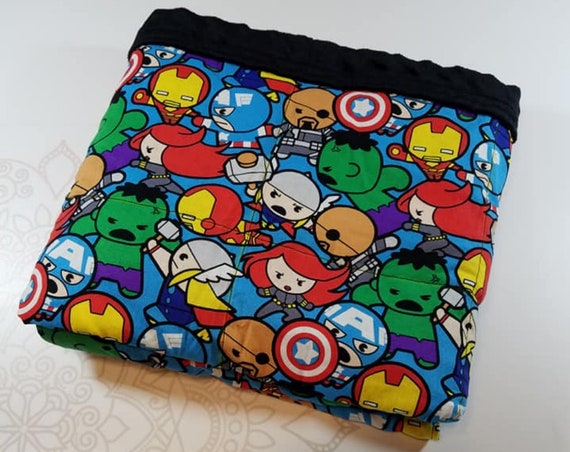 READY TO SHIP, 40x50, 6 pounds, Super Hero Woven Cotton Front, Black Minky Back, Weighted Blanket, spd, Autism, Minky weighted blanket