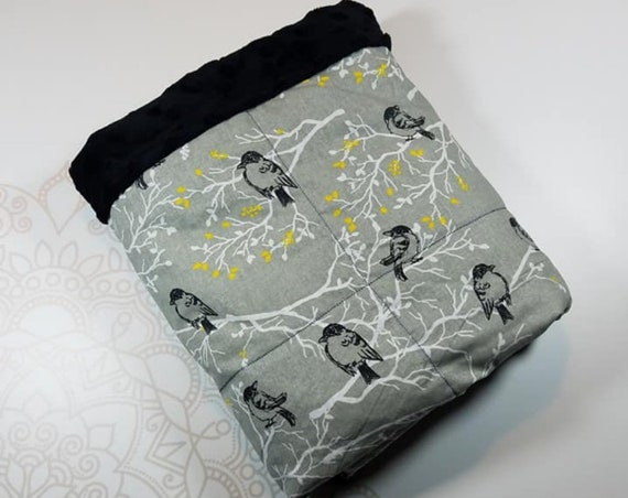 Ready To Ship, 5 Pound, 28x32, Birds on Branches, Black Minky, WEIGHTED BLANKET, 28x32, for Autism, Sensory, ADHD, Calming, Anxiety,