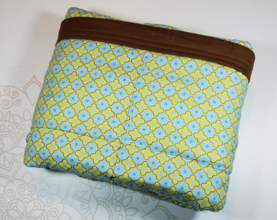 READY TO SHIP, 40x60, 10 pounds, Teal Yellow Medallion, Brown Cotton Flannel Back, Weighted Blanket, Adult Weighted Blanket, spd, Autism