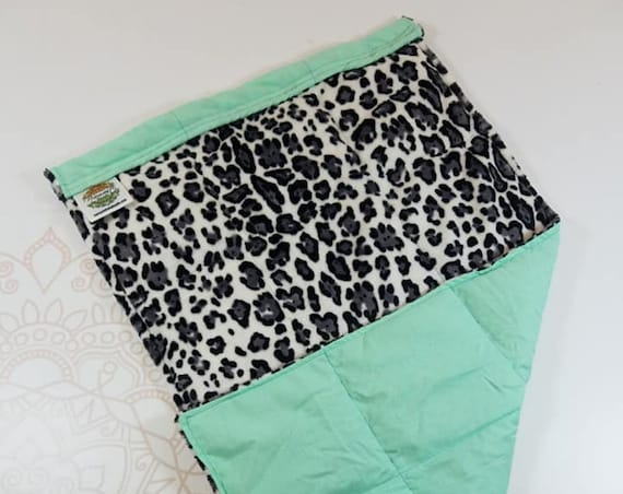 READY TO SHIP, Animal Print Minky Front, Mint Cotton Back, Lap Pad/Weighted Blanket, 3 pounds, 14x22, Small Weighted Blanket