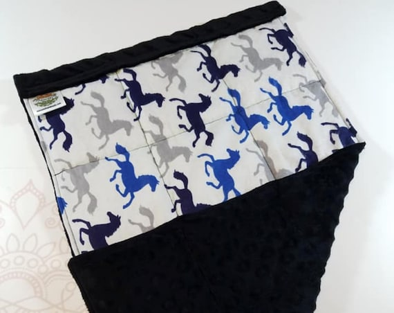 READY TO SHIP, Running Horses Front, Black Minky Back, Lap Pad/Weighted Blanket, 3 pounds, 14x22, Small Weighted Blanket