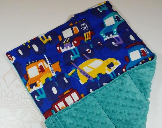 READY TO SHIP, Monster Truck Front, Teal Minky Back, Lap Pad/Weighted Blanket, 3 pounds, 14x22, Small Weighted Blanket