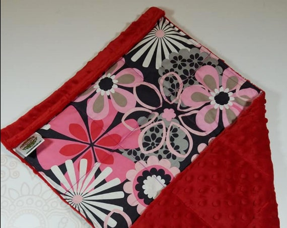 READY TO SHIP, Pink Red Gray Flowers Front, Red Minky Back, Lap Pad/Weighted Blanket, 3 pounds, 14x22, Small Weighted Blanket