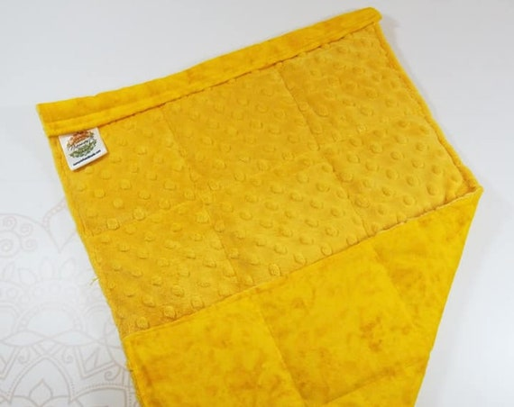 READY TO SHIP, Mango Yellow Minky Front, Yellow Tie Dye Cotton Flannel Back, Lap Pad/Weighted Blanket, 3 pounds, 14x22, Weighted Blanket