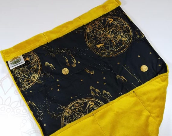 READY TO SHIP, Metallic Celestial Map Front, Gold Minky Back, Lap Pad/Weighted Blanket, 3 pounds, 14x22, Small Weighted Blanket