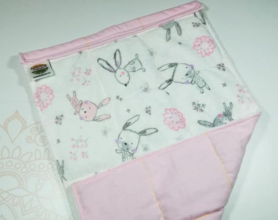 READY TO SHIP, Bunny Minky Front, Pink Flannel Flannel Back, Lap Pad/Weighted Blanket, 3 pounds, 14x22, Small Weighted Blanket