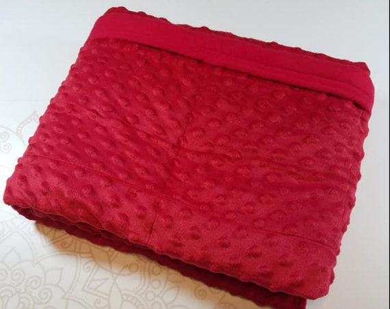 READY to SHIP, Weighted Blanket, 40-42-8 Pounds, Red Minky, Red Cotton Flannel Back, Sensory Blanket, Calming Blanket,