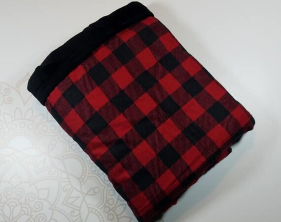 Ready To Ship, 5 Pound, 28x32, Buffalo Check, Black Smooth Minky, WEIGHTED BLANKET, 28x32, for Autism, Sensory, ADHD, Calming, Anxiety,