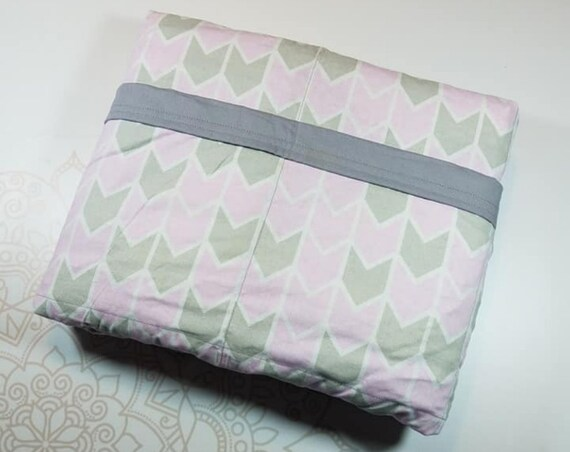 READY TO SHIP, 40x60, 10 pounds, Pink Gray Arrows, Gray Cotton Back, Weighted Blanket, Cotton, Adult Weighted Blanket, spd, Autism