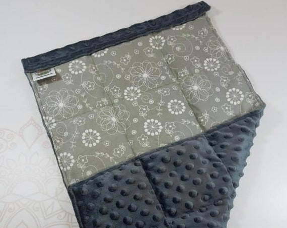 READY TO SHIP, Gray White Flowers Front, Charcoal Minky Back, Lap Pad/Weighted Blanket, 3 pounds, 14x22, Small Weighted Blanket