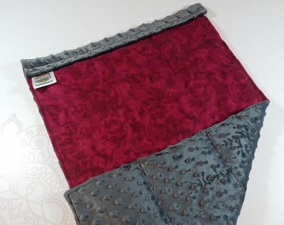 READY TO SHIP, Burgundy Tie Dye Front, Charcoal Minky Back, Lap Pad/Weighted Blanket, 3 pounds, 14x22, Small Weighted Blanket