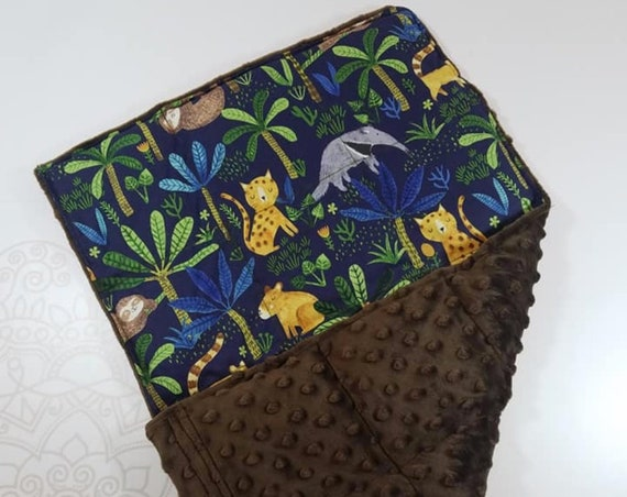 READY TO SHIP, Jungle Front, Brown Minky Back, Lap Pad/Weighted Blanket, 3 pounds, 14x22, Small Weighted Blanket