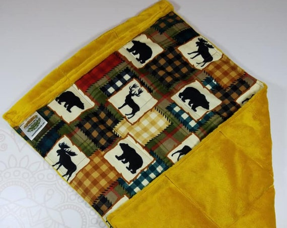 READY TO SHIP, Buffalo Checked with Animals Front, Gold Smooth Minky Back, Lap Pad/Weighted Blanket, 3 pounds, 14x22, Small Weighted Blanket