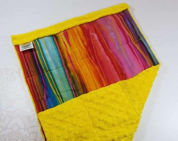READY TO SHIP, Watercolor Batik Front, Yellow Minky Back, Lap Pad/Weighted Blanket, 3 pounds, 14x22, Small Weighted Blanket