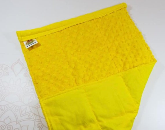 READY TO SHIP, Yellow Minky Front, Yellow Woven Cotton Back, Lap Pad/Weighted Blanket, 3 pounds, 14x22, Small Weighted Blanket