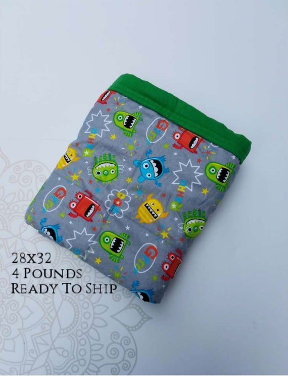 READY to SHIP, Weighted Blanket, 28x32-4 Pounds, Silly Monsters Front, Green Cotton Flannel Back, Sensory Blanket, Calming Blanket,