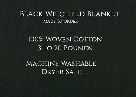 Solid Color, Weighted Blanket, BLACK, Up to Twin Size 3 to 20 Pounds.  Calming, Heavy Blanket, SPD, Autism, Weighted Blanket.