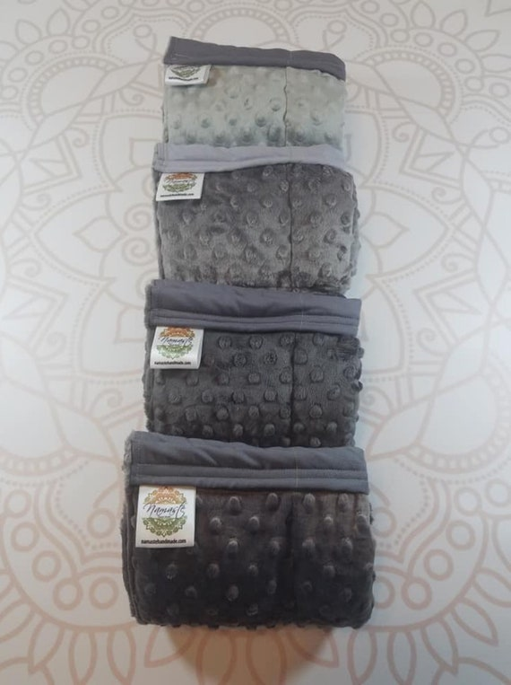 READY TO SHIP, Gray Minky Lap Pad/Weighted Blanket, 3 pounds, 14x22, Small Weighted Blanket