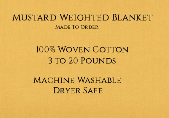 Solid Color, Weighted Blanket, Mustard, Up to Twin Size 3 to 20 Pounds.  Calming, Heavy Blanket, SPD, Autism, Weighted Blanket.