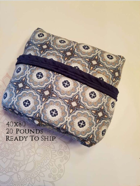 READY to SHIP, Weighted Blanket, 40x80-20 Pounds, Blue Gray Medallion Flannel, Navy Minky Back, Sensory Blanket, Calming Blanket,