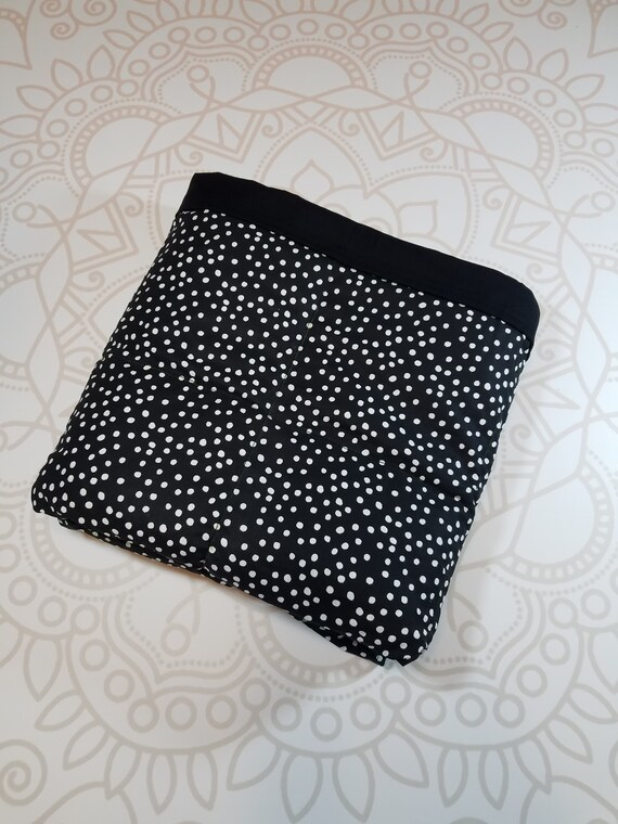 READY to SHIP, Weighted Blanket, 40x50-15 Pounds, Black Dots Cotton Front, Black Woven Cotton Back, Sensory Blanket, Calming Blanket,