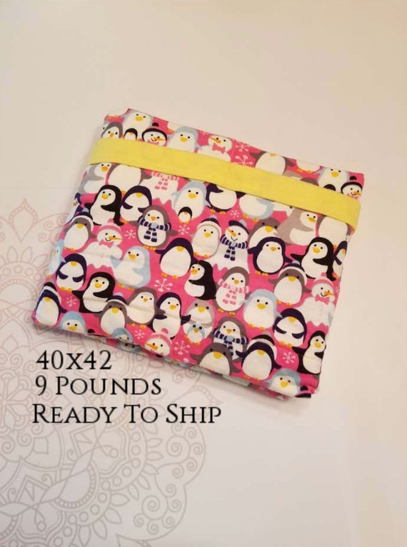 READY to SHIP, Weighted Blanket, 40-42-9 Pounds, Penguins, Yellow Flannel Back, Sensory Blanket, Calming Blanket,