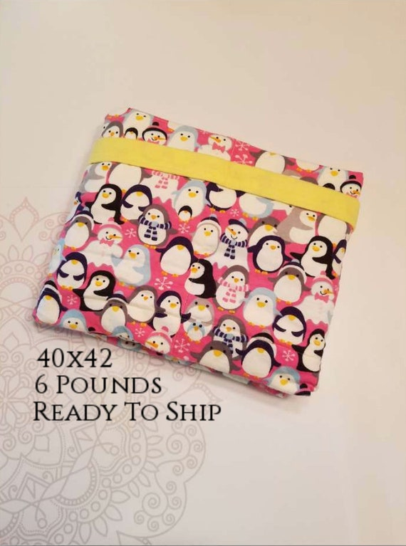 READY to SHIP, Weighted Blanket, 40-42-6 Pounds, Penguins, Yellow Flannel Back, Sensory Blanket, Calming Blanket,