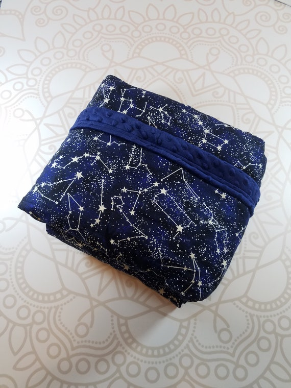 READY to SHIP, 40x80-15 Pounds, Weighted Blanket, Constellation Woven Cotton, Navy Minky Backing, Sensory Blanket, Calming Blanket,