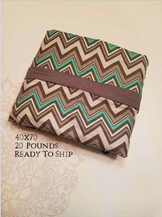 READY to SHIP, Weighted Blanket, 40x70-20 Pounds, Gray Mint Chevron Cotton Front, Gray Woven Cotton Back, Sensory Blanket, Calming Blanket,